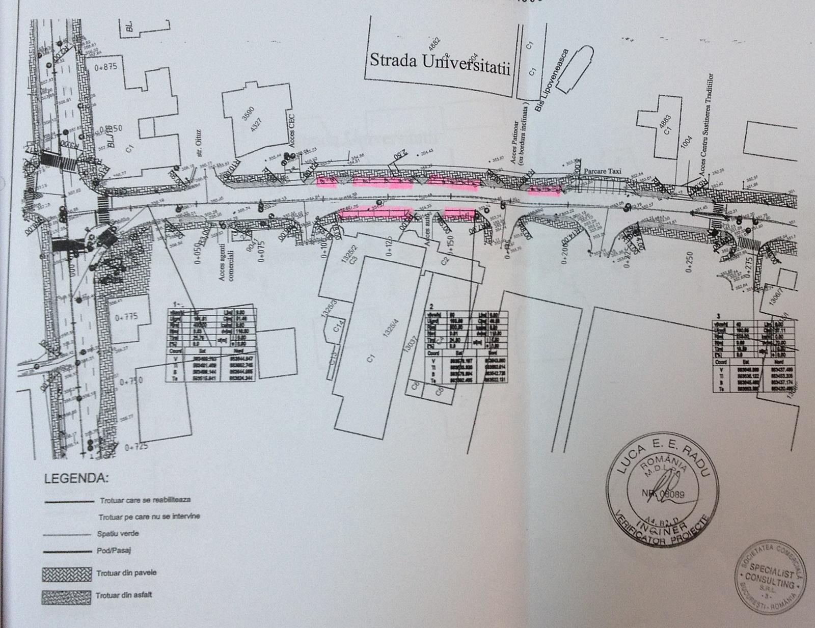 Strada Universității, bulevardul George Enescu, proiect modernizare, planșe
