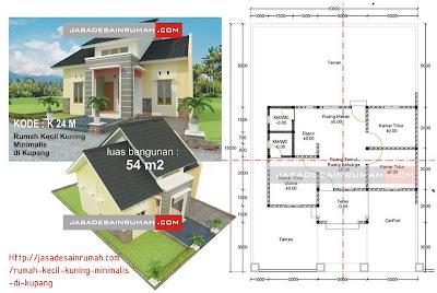 rumah kecil kuning minimalis di kupang jasa desain rumah