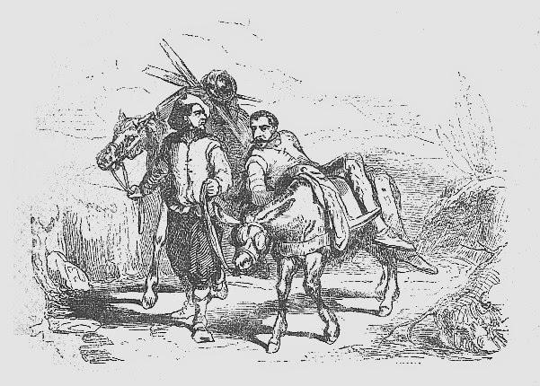 Don Quijote a lomos del burro de Sancho Panza