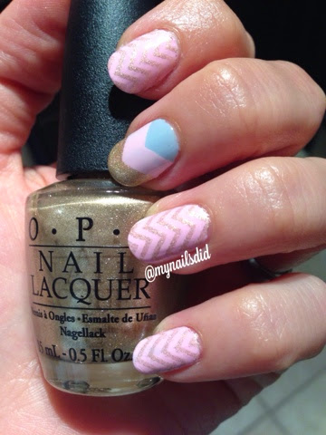My Nails Did: Pink & Gold Chevron Stamped Mani