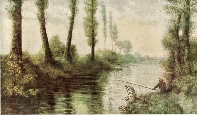 Alphonse Legros - A Canal With A Fisherman