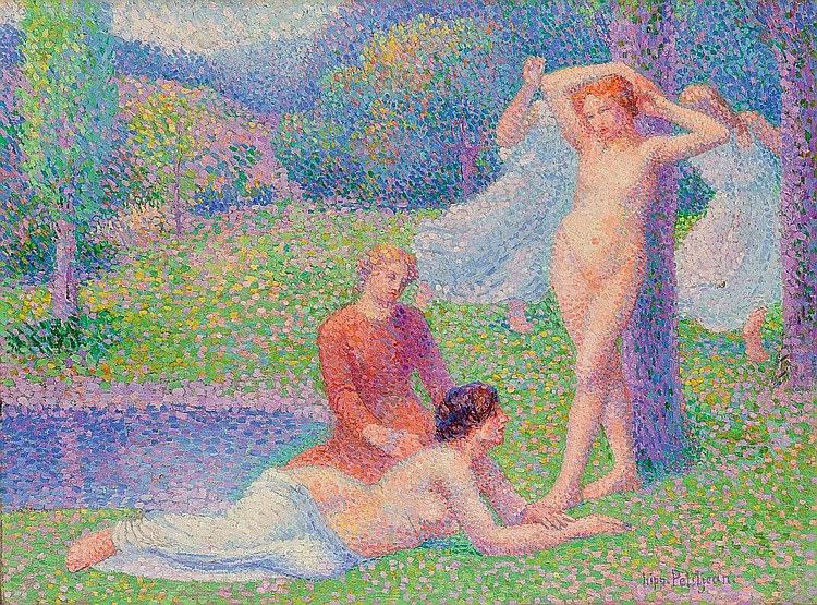Hippolyte Petitjean - Femmes nues dans un paysage, danseuses dans le fôret