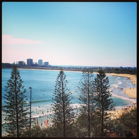Blogging from the beach, Mooloolaba, Natasha in Oz, view of the beach