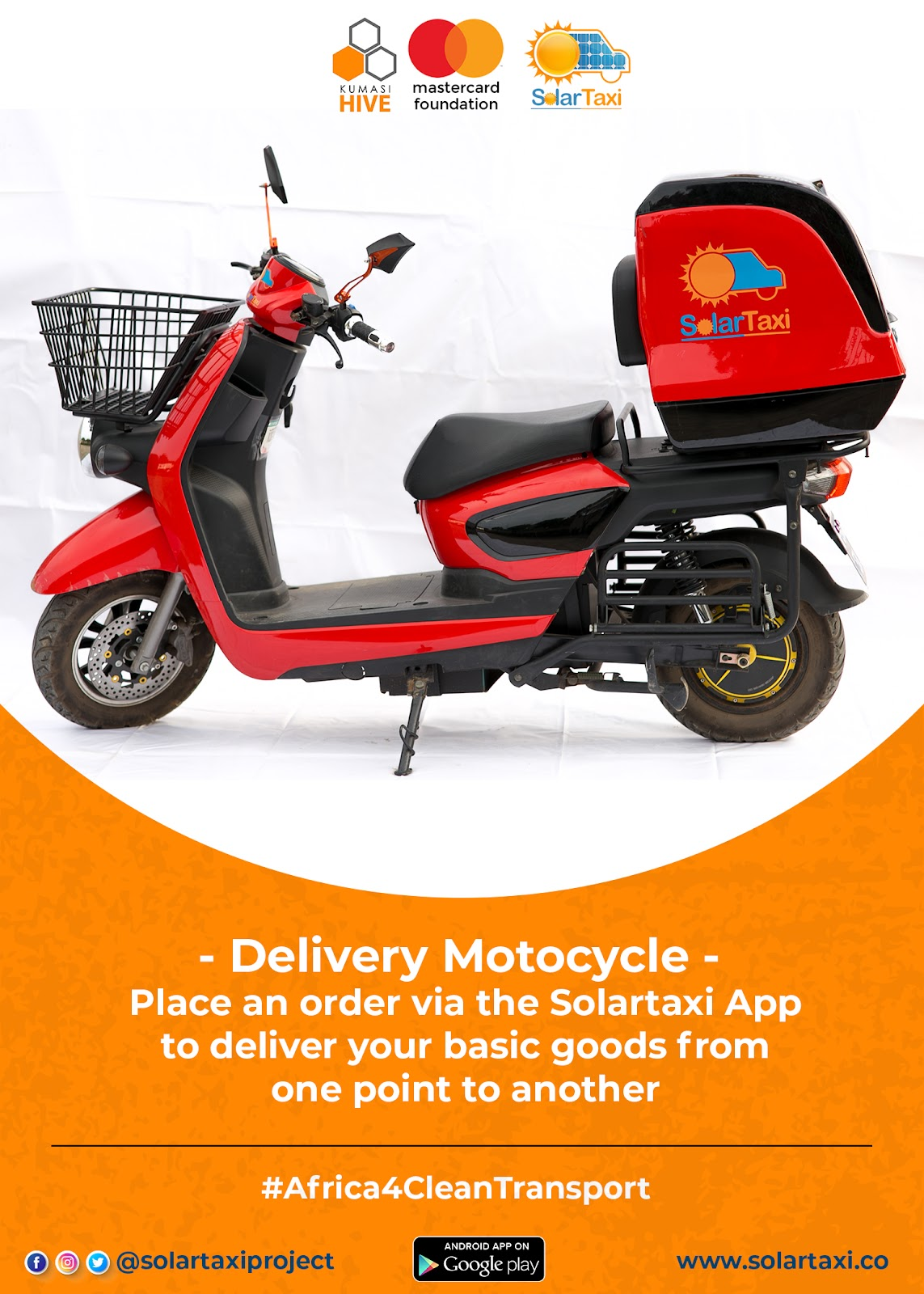 Kumasi Hive and Mastercard Foundation Delivery Motocycle image for SolarTaxi on gharage