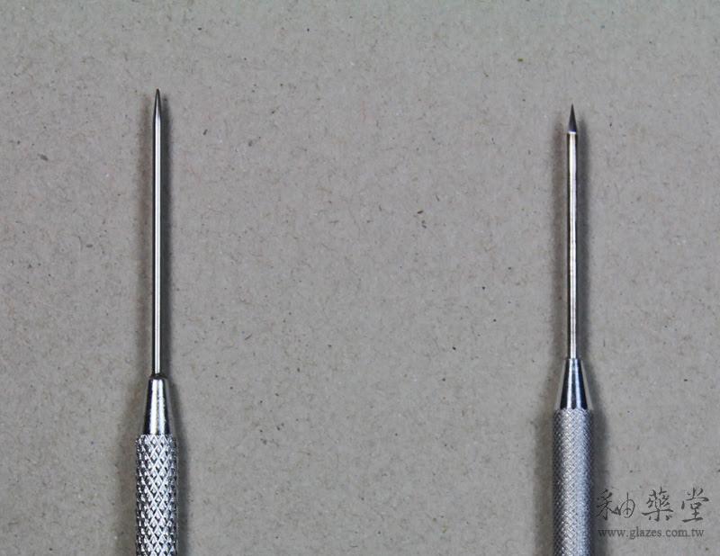 陶藝工具-鋁柄修坯刀中國與臺灣製比較細部