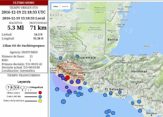 Sismo sensible en el occidente del país