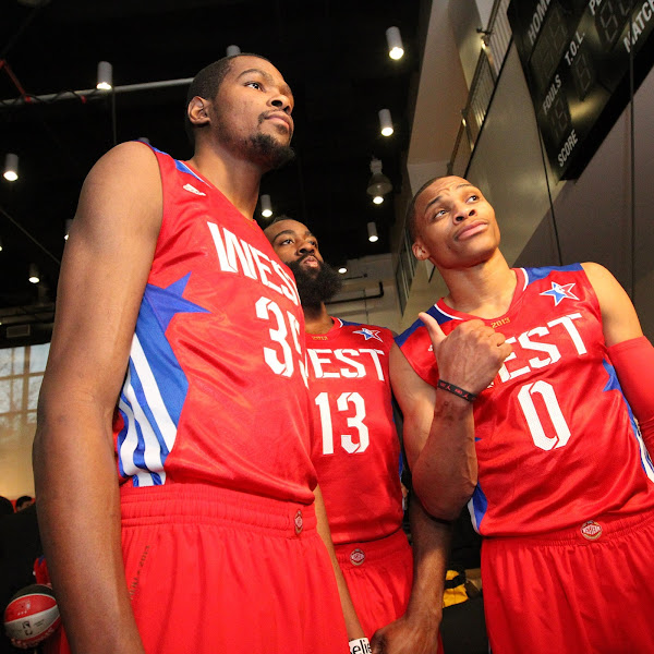 Kevin Durant #35, James Harden #13, and Russell Westbrook #0 of the Western Conference All-Stars take a photo before the 2013 NBA All-Star Game on February 17, 2013 at Toyota Center in Houston, Texas.
