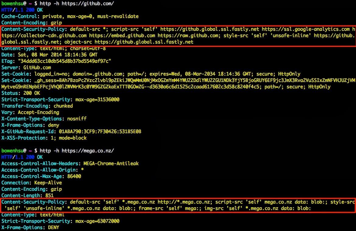 GitHub 與 MEGA 使用 CSP 後的 HTTP response