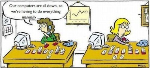 cartoon of a person playing solitaire by hand after computer went down
