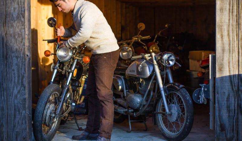 Brown Moleskin Pants: Motorcycle Repair