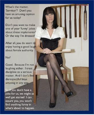 captioned image of spanking governess most displeased with Servitor