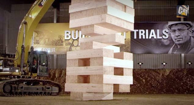 Largest JENGA Game Played with Cat Excavators