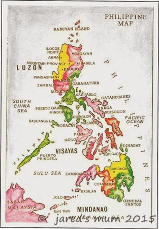 Philippines, postcards, map cards