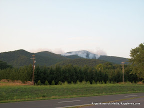 Photo by Keith Rowand of Neighbor Mountain Fire in Shenandoah National Park, as seen from the west (in Page County).