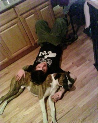 Frank Iero and a boxer type dog