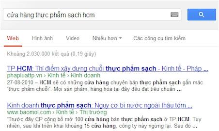 ket qua tim kiem cua hang thuc pham sach cua google