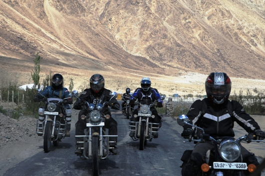 Royal Enfield Users take part in the ninth edition of the Royal Enfield Himalyan Odyssey, the ultimate ride of adventure motorcycling in India