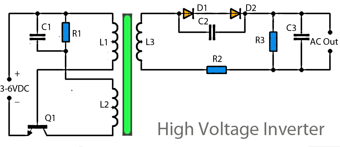 3v To High Voltage Inverter on mosquito bug zapper circuit diagram