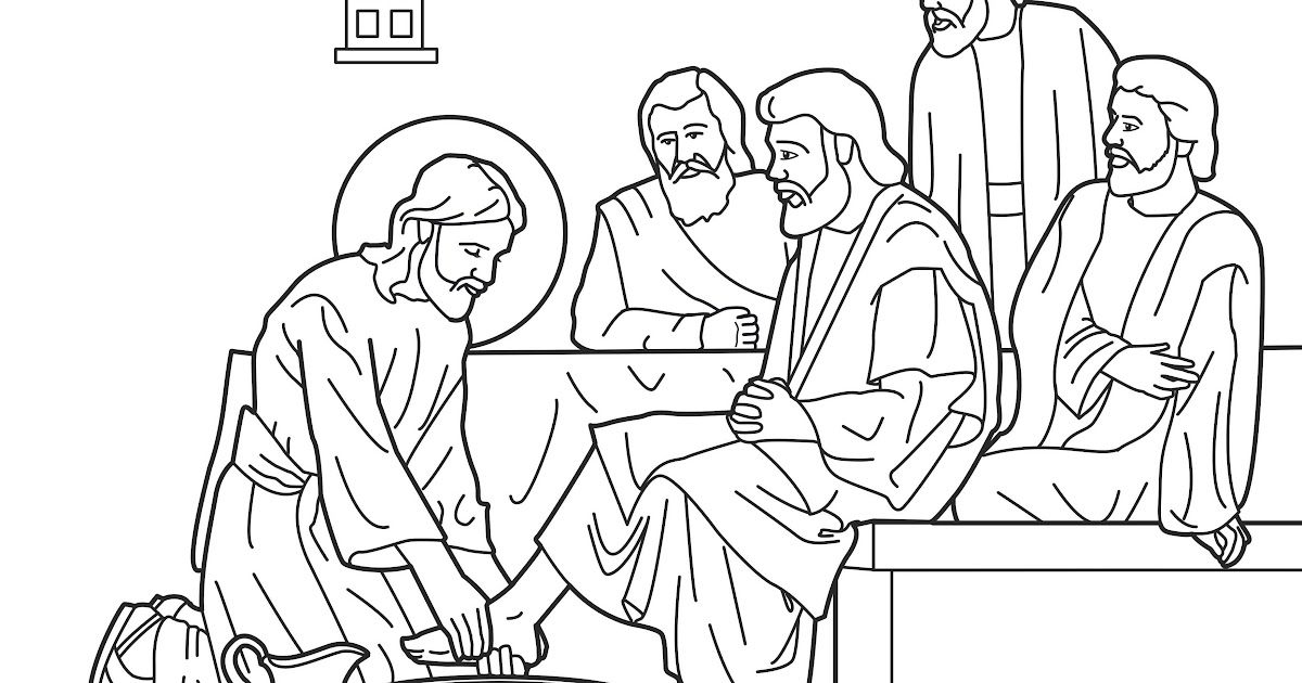 jesus washes his disciples feet coloring pages | Coloring Pages