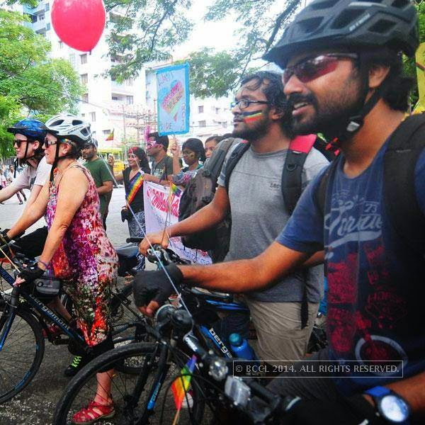 Participants during Queer Pride March, held in Kochi.