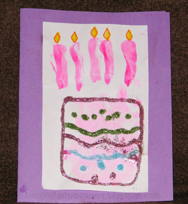 Hand print Birthday Cake card Craft To Art