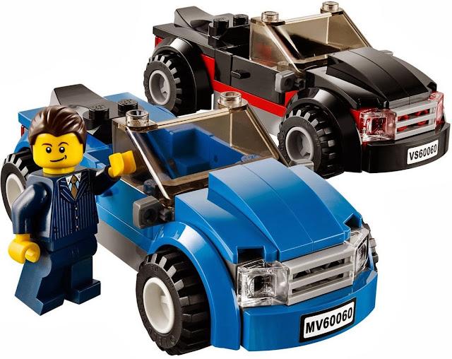 Hai chiếc xe con xinh xắn, đẹp mắt trong bộ xếp hình Lego City 60060 Auto Transporter
