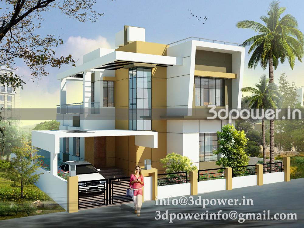 3d view of individual bungalow east facing for Interior design di bungalow artigiano