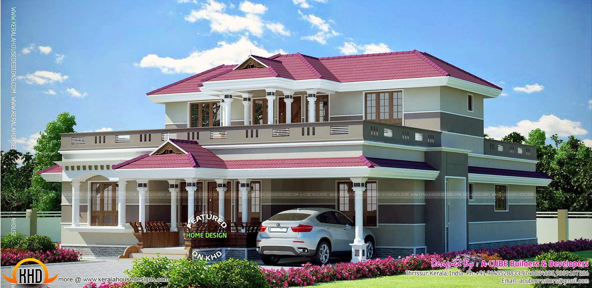 Grand kerala home design kerala home design and floor plans for Grand home designs