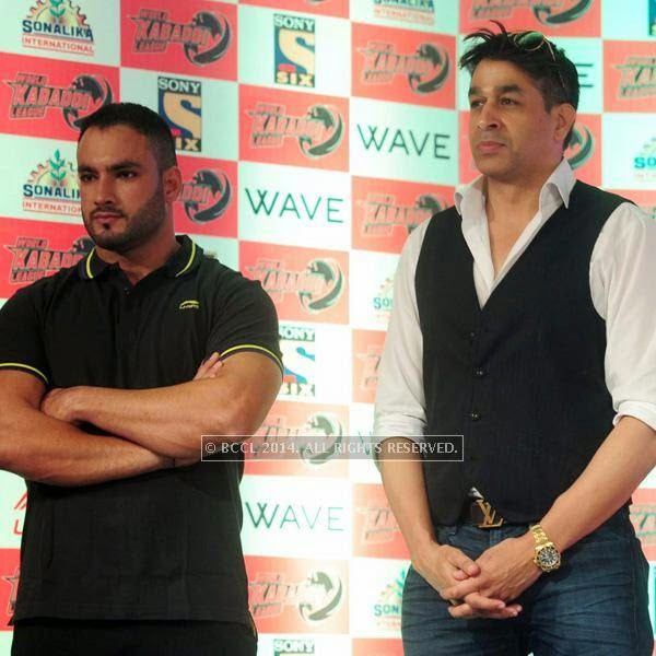 Balwinder and Rajat Bedi during the launch of World Kabaddi League, held at Le Meridian, New Delhi, on July 24, 2014.