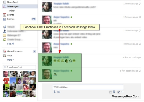 Facebook Chat Emoticons in Message Inbox FB