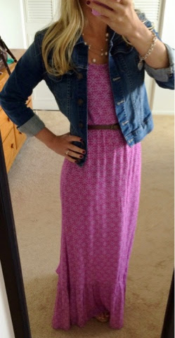Maxi dress with jean jacket, brown belt and pearl necklace