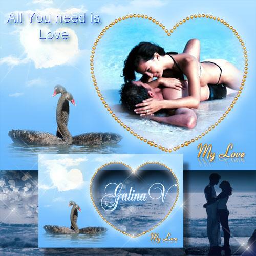 Романтическая рамка с лебедями - Моя любовь