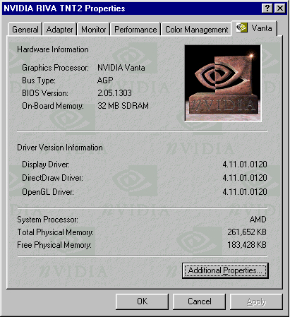 Driver nvidia vanta windows 7