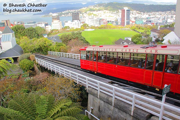 Wellington Cable Car climbing down the hill