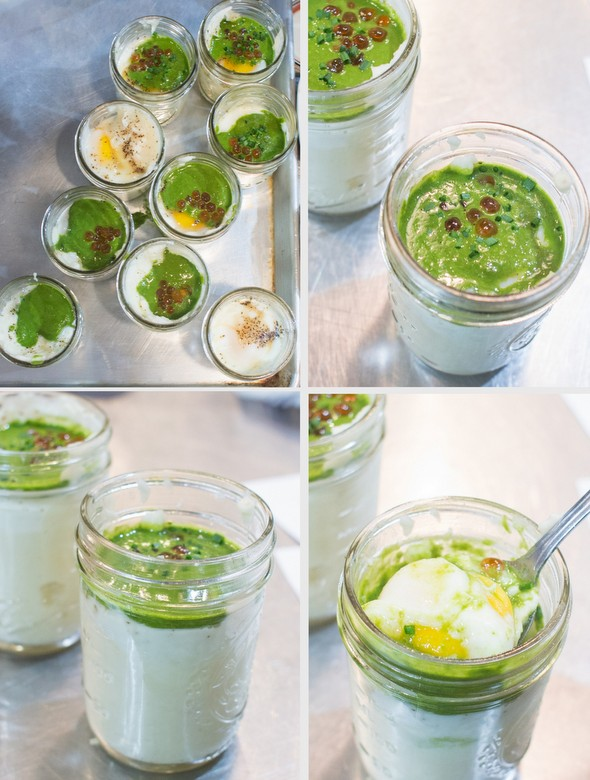 photo collage of the coddles eggs in jars taken at different angles