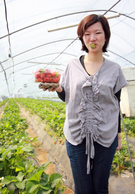 Me and my punnet of fresh Korean strawberries