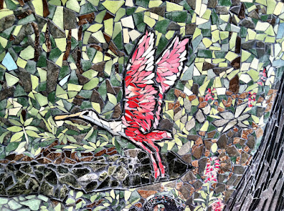 stork red mosaic glass shards art stock photo