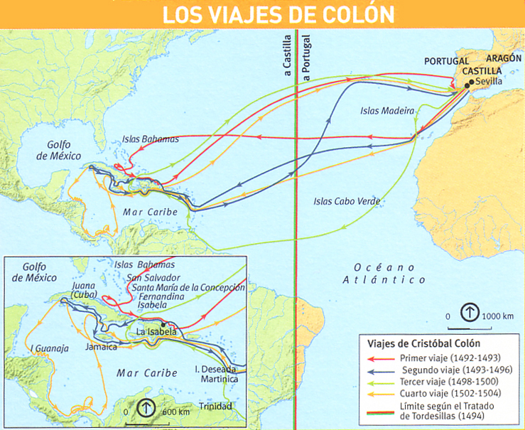 El mapa del viaje de colon - Imagui