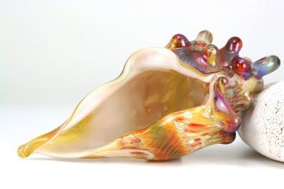 Summer Golden Sand Lampwork Conch Shell by Lori Lochner