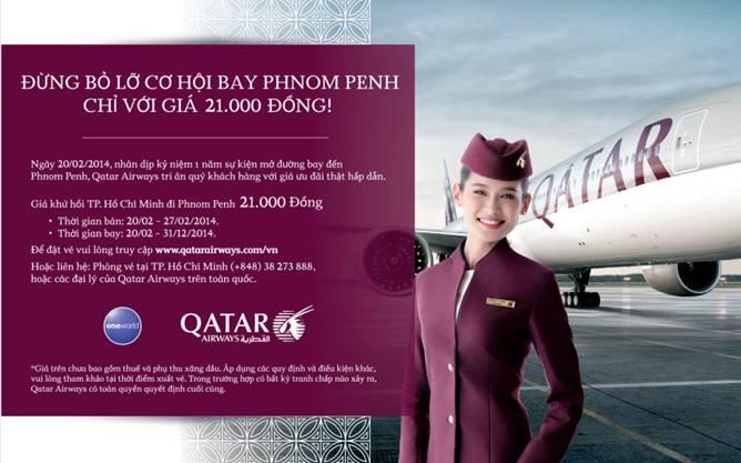vé máy bay giá rẻ qatar airways Vé máy bay siêu rẻ 1 USD từ Sài Gòn đi Campuchia