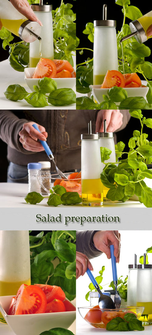 Stock Photo: Salad preparation