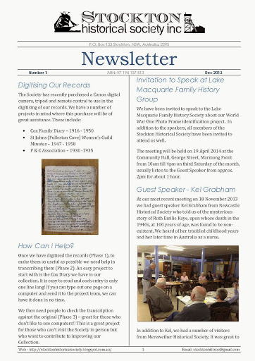 Stockton Historical Society Newsletter - Dec 2013