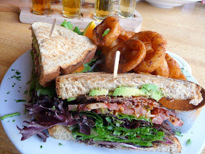Steamboat Rock BLT- Thick sliced apple wood-smoke​d bacon layered with vine ripened tomatoes, mixed garden greens and basil aioli served on whole grain toast, Oak Creek Brewery, Sedona, Arizona