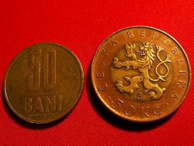 moneda de 50 de bani si moneda de 50 de coroane - fata