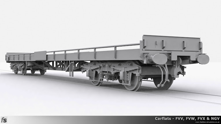Fastline Simulation - Carflats: A low level render of a dia. 1/088 carflat with fixed sides, buckeye couplings, dual brakes, steel ends and Motorail branding boards.
