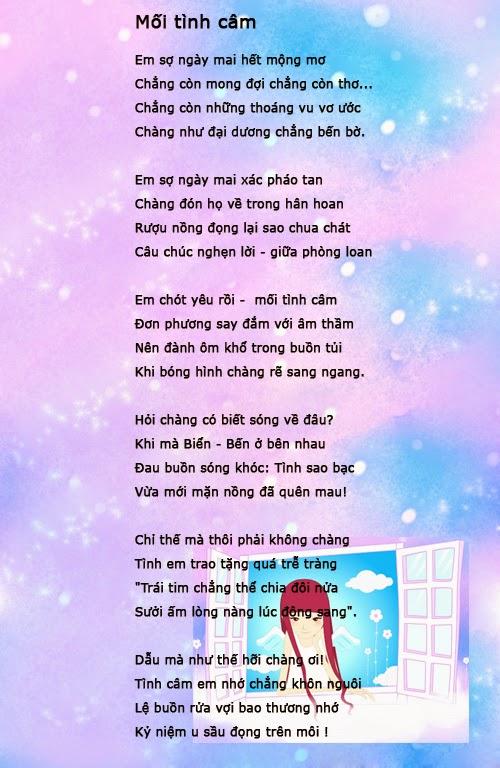 Bài thơ tình yêu viết trên hình ảnh