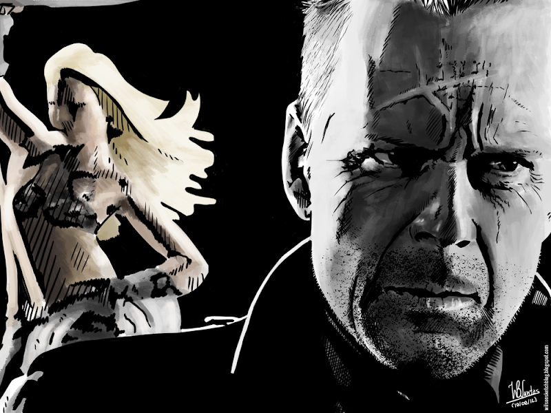 Ink drawing of Nancy and Hartigan from Sin City, using Krita 2.4.
