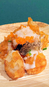Crispy Tater tots with fontina and tobiko and black truffle by Dustin Clark for the Walk on the Wild Side, Oregon Truffle Festival 2015