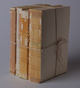 vertical deconstructed paper back books twine bows
