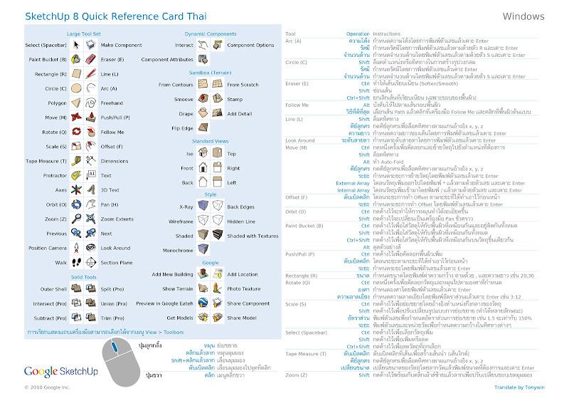 SketchUp - SketchUp 8 Quick Reference Card ภาษาไทย [ปรับปรุงลิงก์] SketchUp8RefCardThai